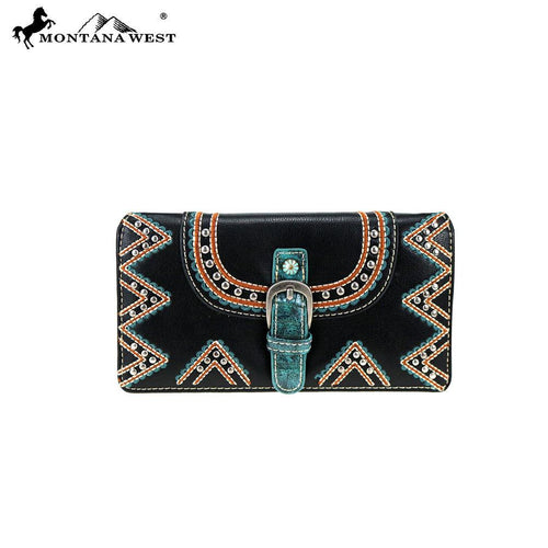 MW794-W010 Montana West Buckle Collection Secretary Style Wallet