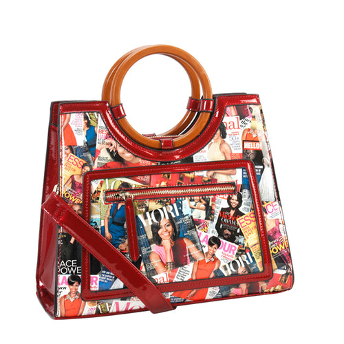 MAGAZINE PRINT ROUND HANDLE SATCHEL WALLET SET