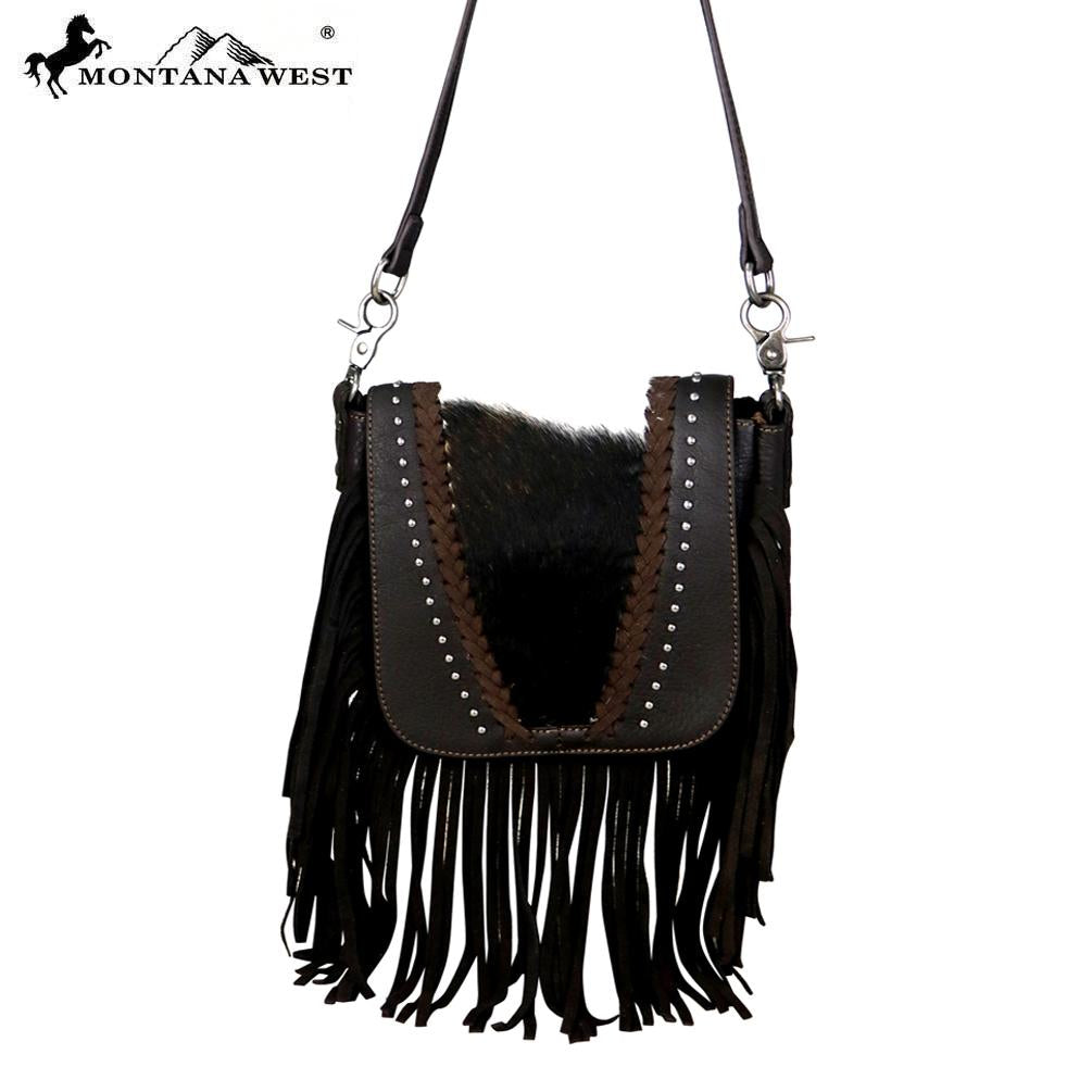 RLC-L083 Montana West 100% Real Leather Hair-On Crossbody