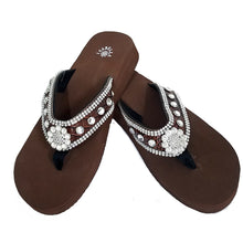 S002 Isabella Red Round Concho Flip Flops