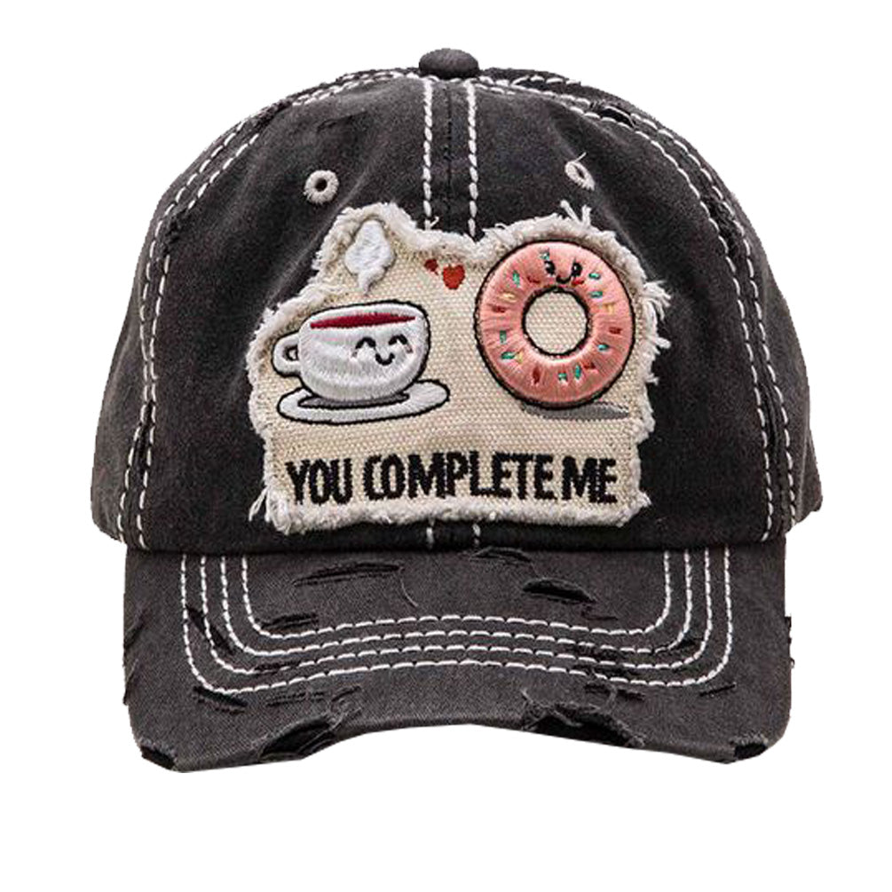 Embroidered 'You Complete Me' Distress Cotton Cap