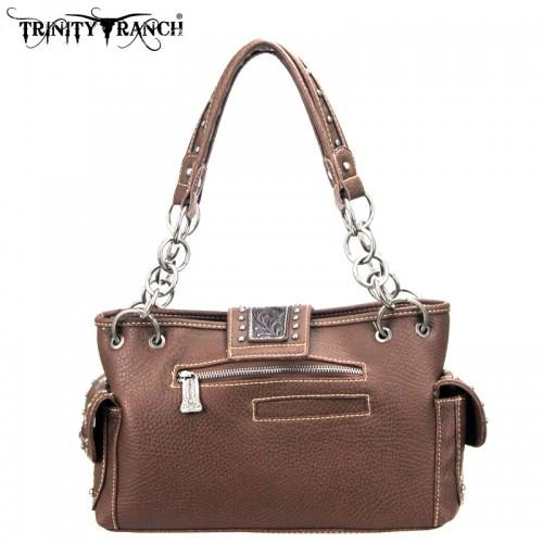 TR03-8085 Trinity Ranch Tooled Design Handbag