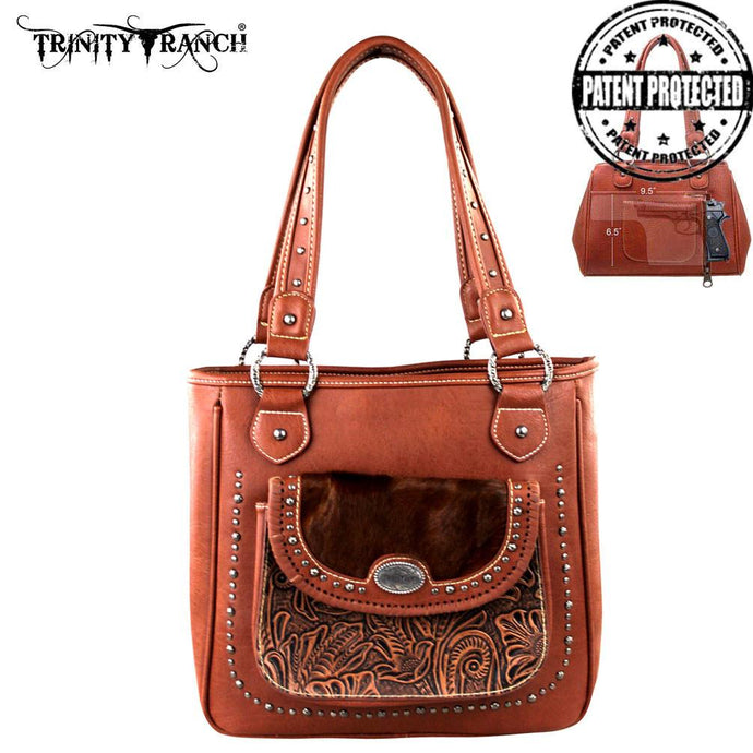TR168G-8561 Trinity Ranch Tooled Design Collection Handbag - Brown