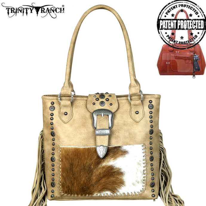 TR35G-8561 Trinity Ranch Tooled Hair-On Leather Concealed Handgun Collection Tote