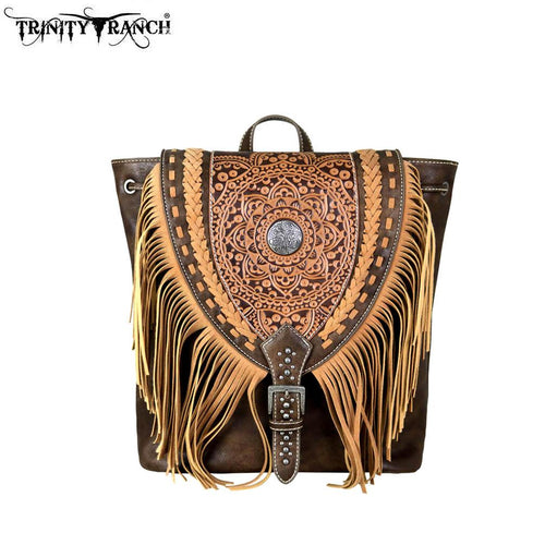 TR66-9111 Trinity Ranch Tooled Leather Collection Backpack
