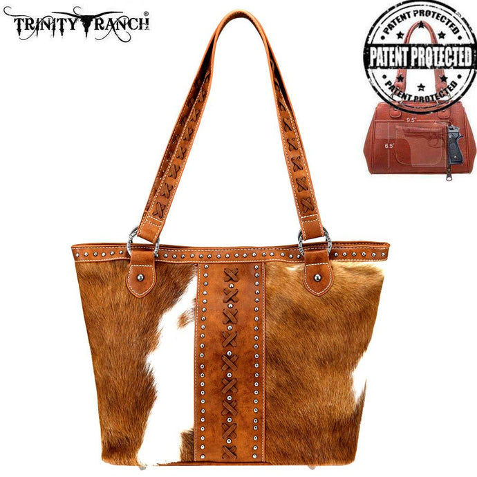 TR76G-8317 Trinity Ranch Hair-On Leather Collection Tote Bag
