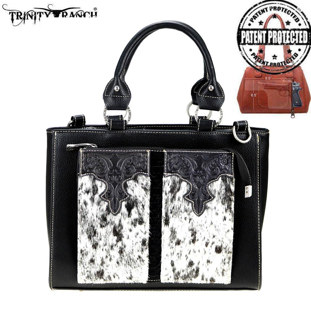 TR77G-8566 Trinity Ranch Hair-On Leather Collection Concealed Carry Organizer Satchel/Crossbody