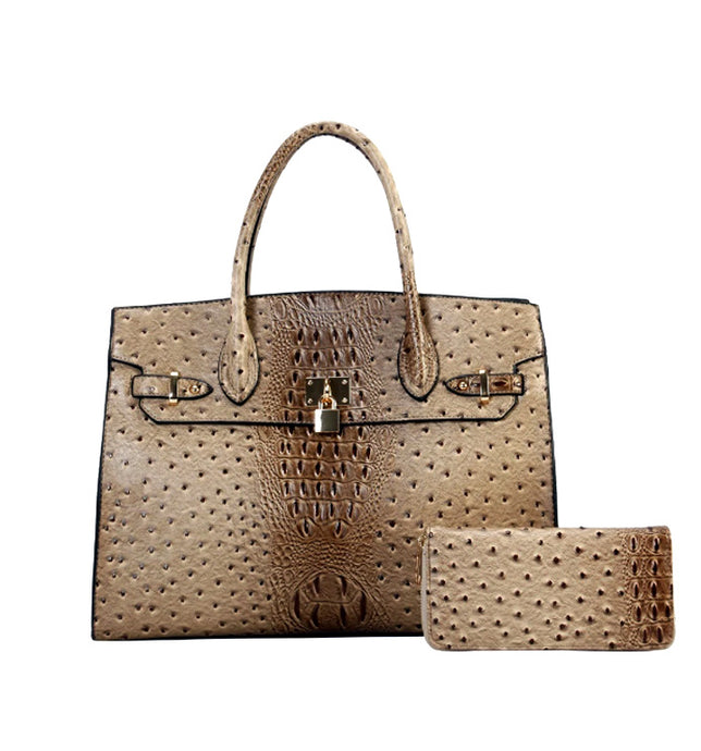 TU-6726 Faux Ostrich Handbag/Wallet Set