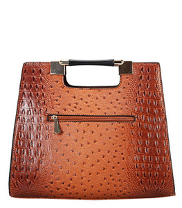 Embossed Satchel Body Handle Handbag