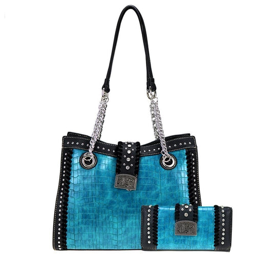 ABS-003W American Bling Buckle Collection Tote and Wallet