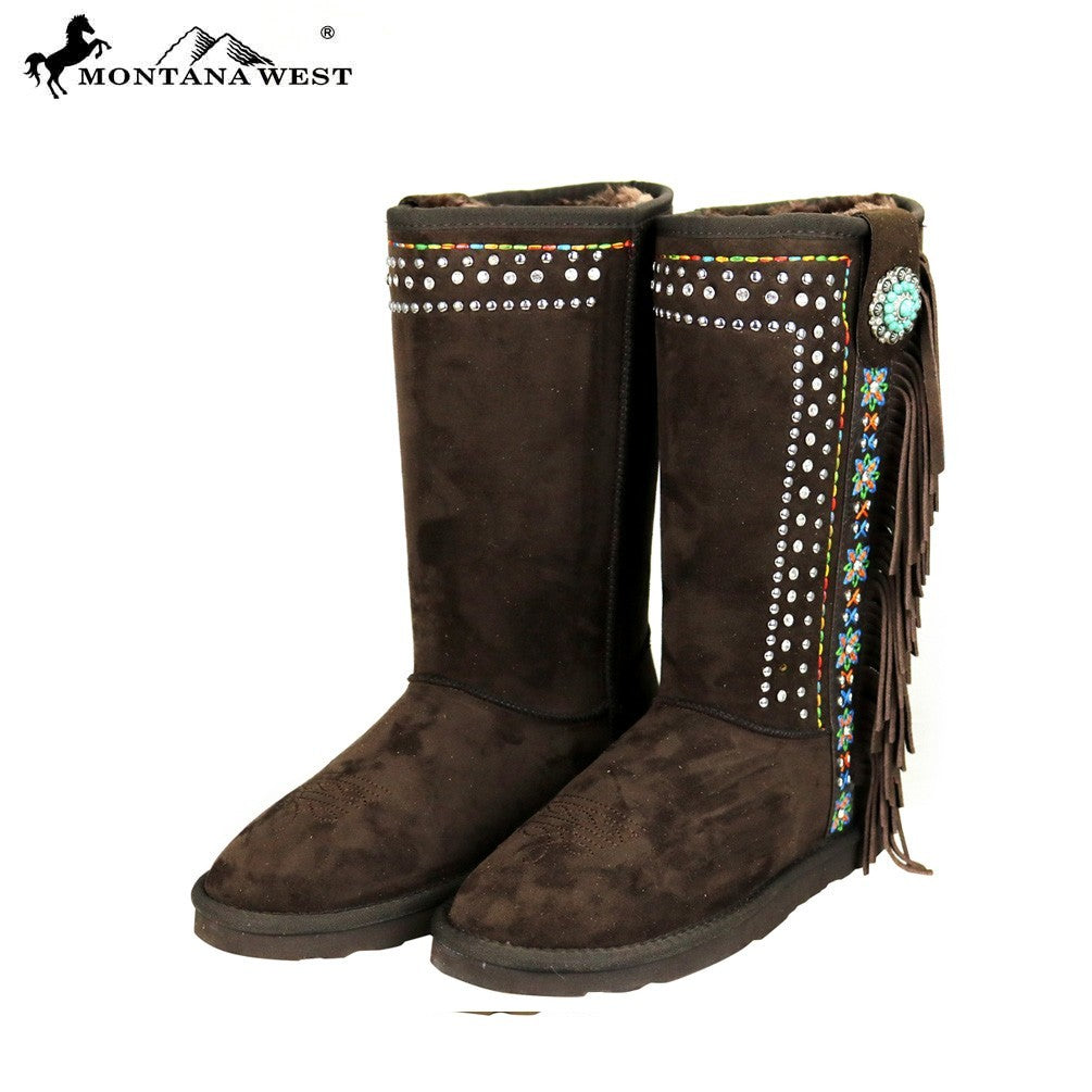 BST-028 Montana West Fringe Collection Boots Coffee