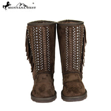 BST-035 Montana West Fringe Collection Boots Coffee