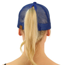 BT-4 Ponytail Messy Buns Trucker Ponycaps Plain Baseball Visor Cap