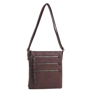 CHY2039L Multi Zip Pockets Concealed Carry Crossbody Bag