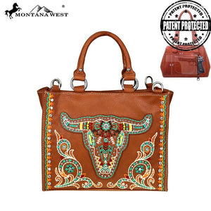 MW526G-8566 Montana West Embroidered Collection Concealed Handgun Satchel