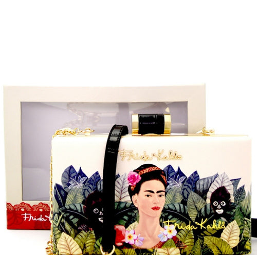 Authentic Frida Kahlo Jungle Series Frame Hard Clutch BK