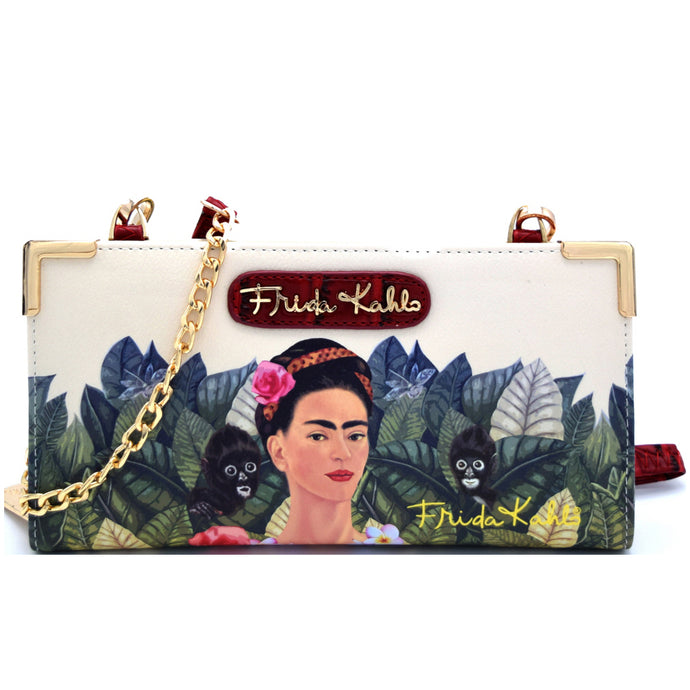 FJ928 Authentic Frida Kahlo Jungle Series Zipper Wallet with Cross Body Strap Red