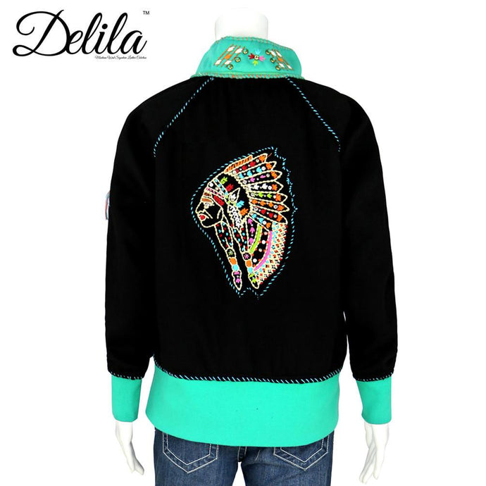 FS-601 Delila Hand Embroidered Fleece Jacket Indian Chief Collection
