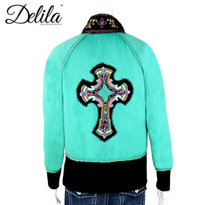 FS-606 Delila Hand Embroidered Fleece Jacket Cross Collection