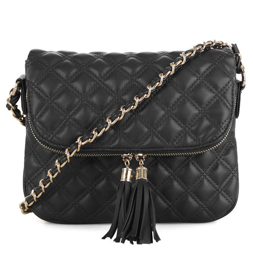 Chic Double Tassel Crossbody Bag