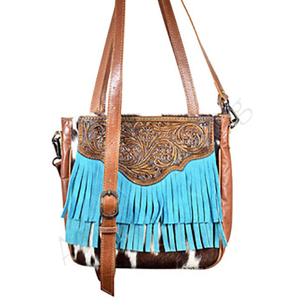 Saddle Cowhide With Tooling Bag With Fringe