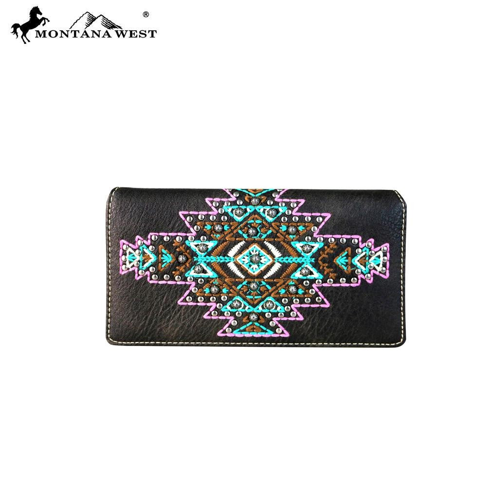MW666-W010 Montana West Aztec Collection Secretary Style Wallet