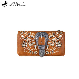 MW689-W021 Montana West Buckle Collection Secretary Style Wallet