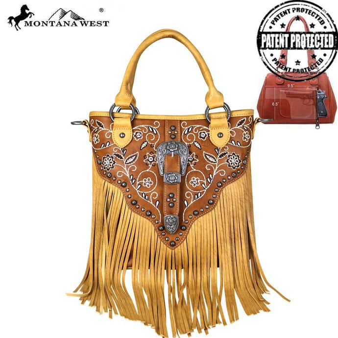 MW689G-8461 Montana West Fringe Collection Concealed Hadgun Satchel/Crossbody