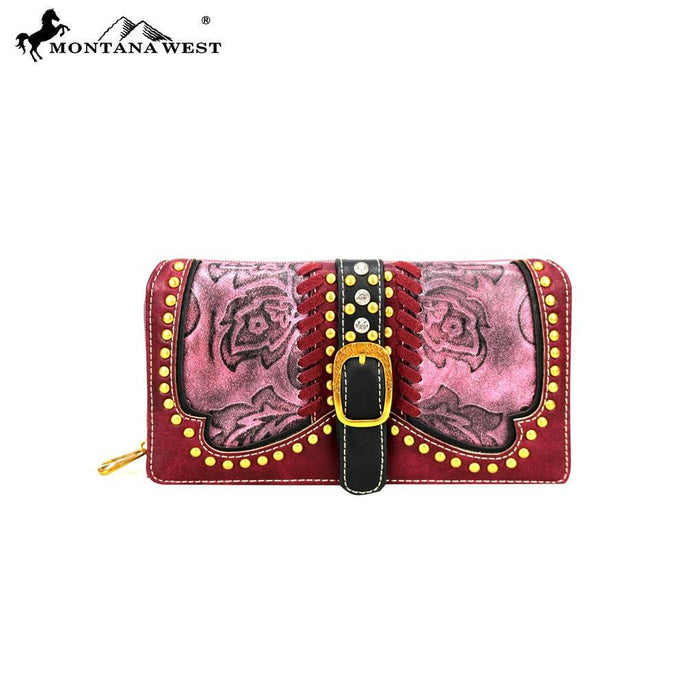 MW728-W010 Montana West Buckle Collection Secretary Style Wallet