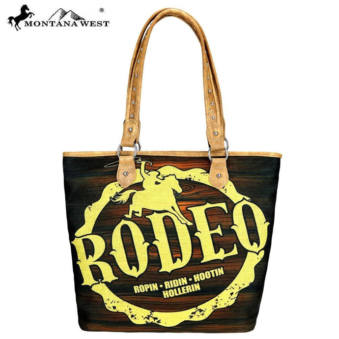MW733-9318 Montana West Rodeo Painting Canvas Tote Bag