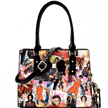 OB-6923 Fashion Magazine Print Bow Accent Tote Wallet
