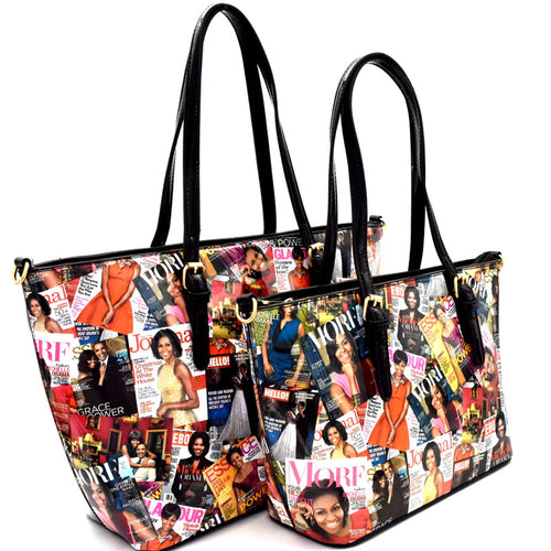 OB-6995 OBAMA Magazine Print 2 in 1 Twin Tote