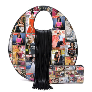PQ0131W  The Obamas Fringe Handbag Set