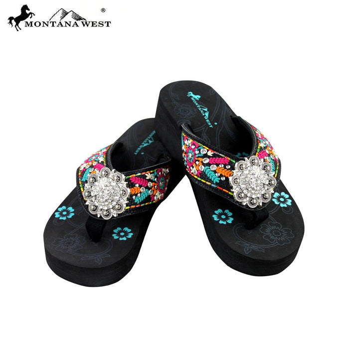 a0ff980cbcb47b SE29-S001 Montana West Embroidered Flip-Flops Collection