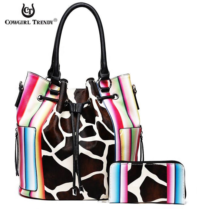 SERA 5610G Giraffe Multi Striped 2-in-1 Drawstring Satchel