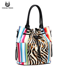 SERA2 5610Z  ZEBRA SERAPE BUCKET BAG AND WALLET SET