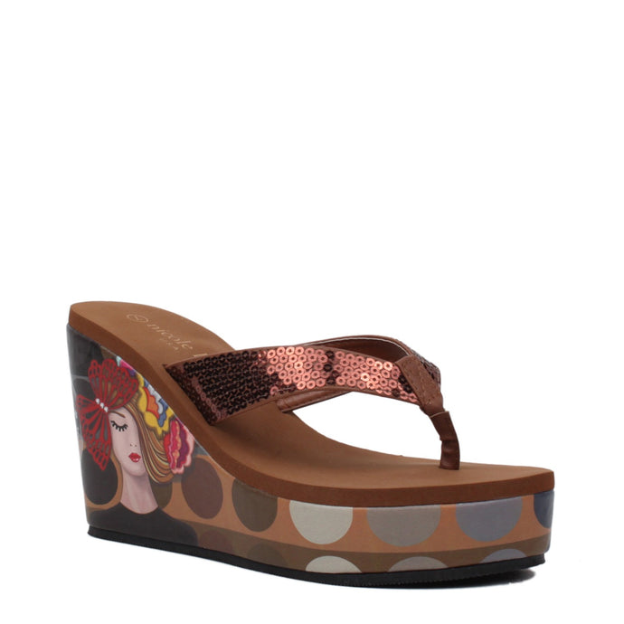 NICOLE LEE AURELIA SEQUIN PRINT FLIP-FLOP WEDGE VICKY THINKS FASHION