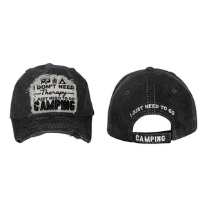 I Don't Need Therapy , I Just Need To Go Camping Embroidery Cotton Cap