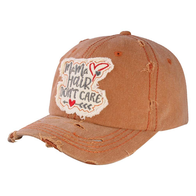 """Mama Hair Don`t Care"" Distressed Vintage Cap"