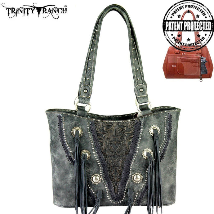 TR34G-8317 Trinity Ranch Tooled Concealed Handgun Collection Handbag GREY