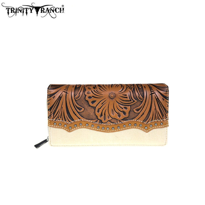 TR46-W010 Trinity Ranch Tooled Design Collection Secretary Style Wallet