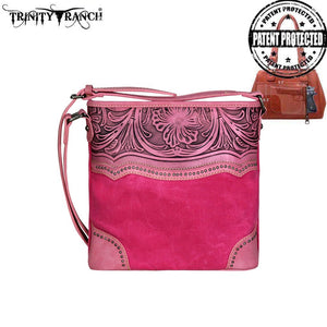 TR46G-8287 Trinity Ranch Tooled Leather Collection Concealed Handgun Crossbody