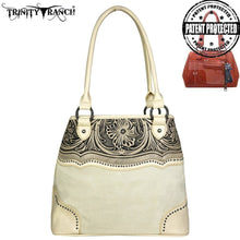 TR46G-8292 Trinity Ranch Tooled Leather Collection Concealed Handgun Satchel