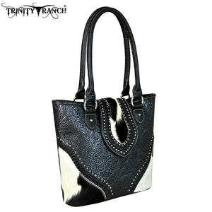 TR56-8014 Trinity Ranch Tooled Hair-On Leather Collection Concealed Carry Tote