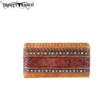 TR61-W010 Trinity Ranch Tooled Collection Secretary Style Wallet