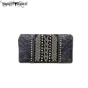 TR70-W010 Trinity Ranch Tooled Collection Secretary Style Wallet