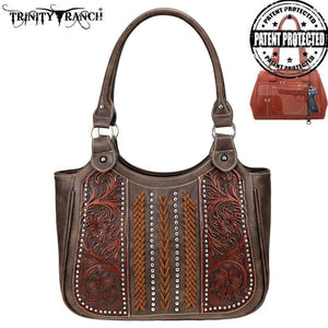 TR70G-8110 Trinity Ranch Tooled Leather Collection Concealed Carry Tote