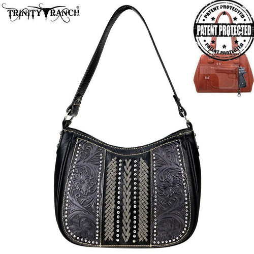 TR70G-918 Trinity Ranch Tooled Leather Collection Concealed Carry Hobo