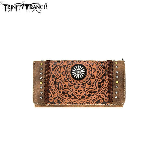 TR71-C018 Trinity Ranch Tooled Collection Wallet/Crossbody