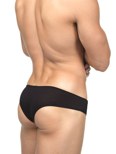 Men's black soft rayon cheeky brief panties